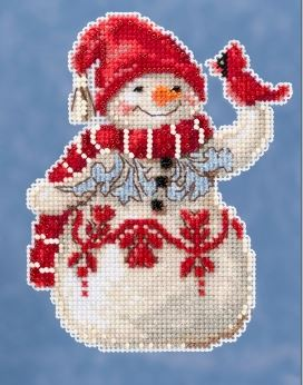 click here to view larger image of Snowman with Cardinal (counted cross stitch kit)