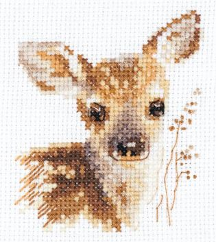 click here to view larger image of Animal Portraits - Fawn (counted cross stitch kit)