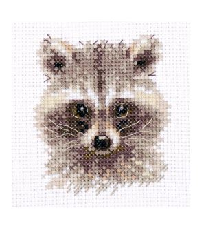 click here to view larger image of Animal Portraits - Raccoon (counted cross stitch kit)