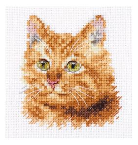 click here to view larger image of Animal Portraits - Ginger Cat (counted cross stitch kit)