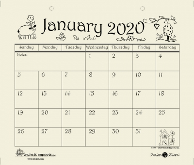 click here to view larger image of 2020 Mill Hill Calendar (accessory)
