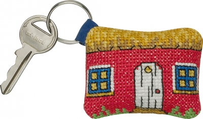 click here to view larger image of Key Chain - Red House (counted cross stitch kit)