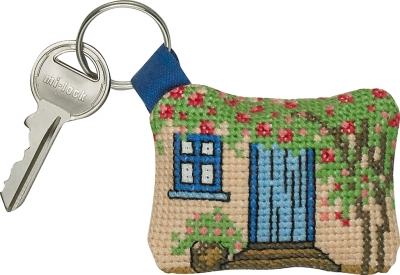 click here to view larger image of Key Chain - Blue Door (counted cross stitch kit)