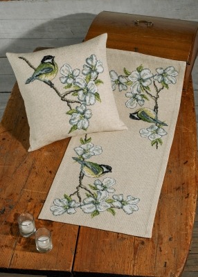click here to view larger image of Great Tit Table Runner - (right picture) (counted cross stitch kit)