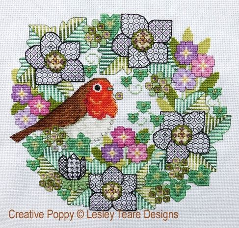 click here to view larger image of Blackwork Flowers With Robin (chart)