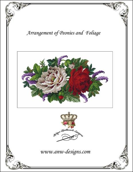 click here to view larger image of Arrangement of Peonies and Foliage (chart)