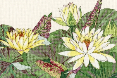 click here to view larger image of Water Lily Blooms (counted cross stitch kit)