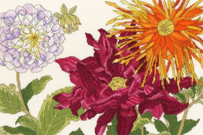 click here to view larger image of Dahlia Blooms (counted cross stitch kit)