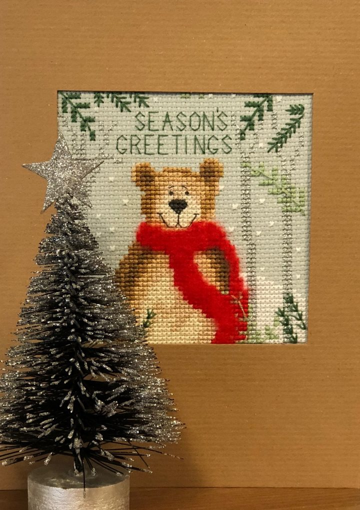 click here to view larger image of Christmas Bear - Christmas Card  (counted cross stitch kit)