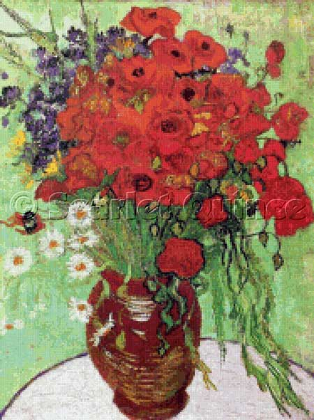click here to view larger image of Vase with Red Poppies and Daisies (chart)