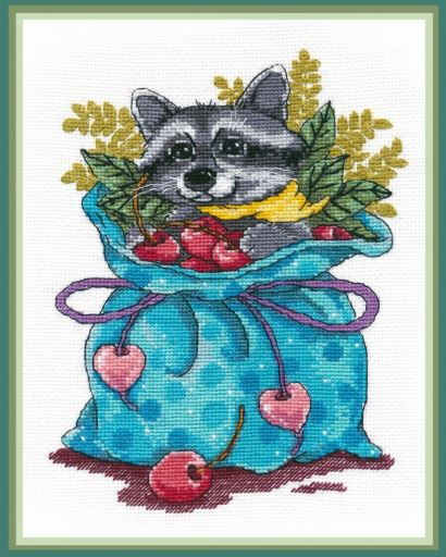 click here to view larger image of Raccoon Sweet Tooth (counted cross stitch kit)