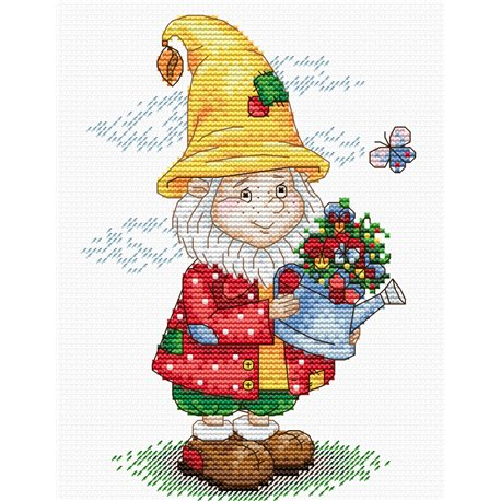 click here to view larger image of Dwarf in Yellow Hat (counted cross stitch kit)