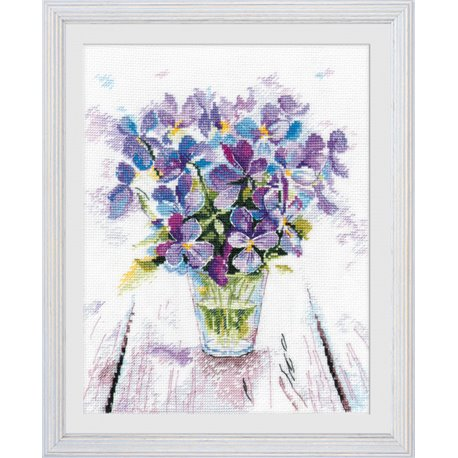 click here to view larger image of Blue Violets (counted cross stitch kit)