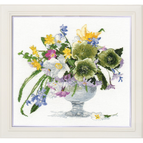 click here to view larger image of Bouquet with Hellebore (counted cross stitch kit)