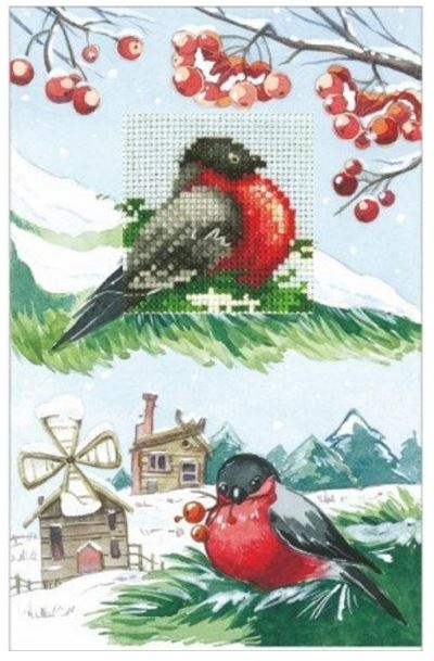 click here to view larger image of Cards - Bullfinches (counted cross stitch kit)