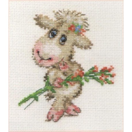 click here to view larger image of Pretty Lamb (counted cross stitch kit)