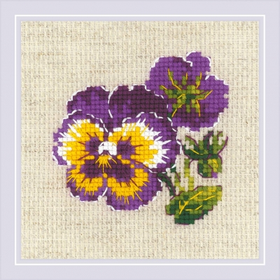 click here to view larger image of Pair of Pansies (counted cross stitch kit)
