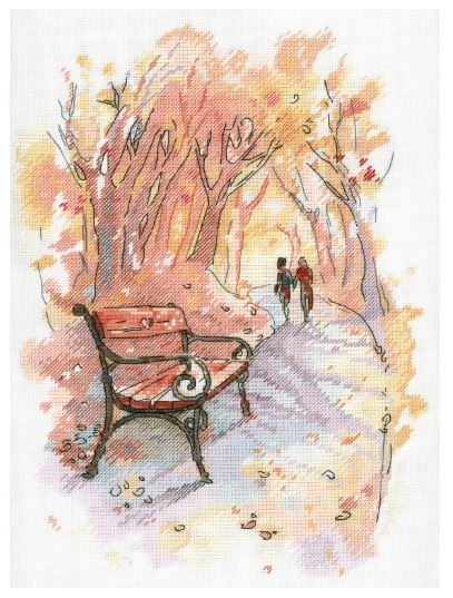 click here to view larger image of Autumn Promenade (counted cross stitch kit)