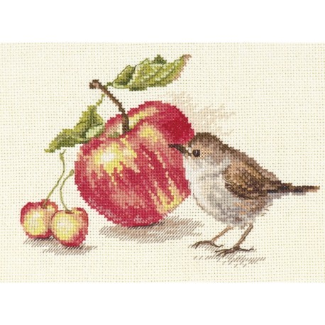 click here to view larger image of Bird and an Apple (counted cross stitch kit)