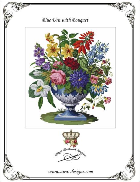 click here to view larger image of Blue Urn with Bouquet (chart)