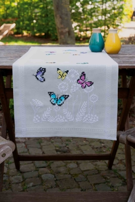 click here to view larger image of Butterfly Dance Table Runner (counted cross stitch kit)
