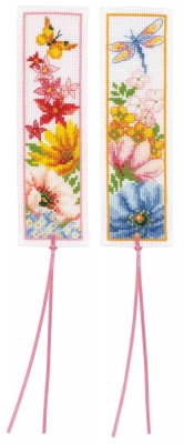 click here to view larger image of Bookmark Flowers (Set of 2) (counted cross stitch kit)
