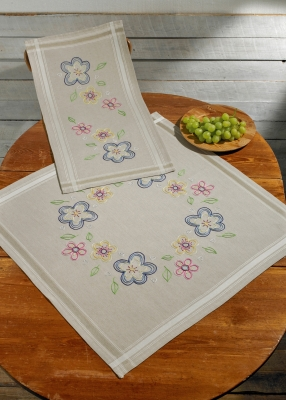 click here to view larger image of Flowers Naive Table Runner (top) (counted cross stitch kit)
