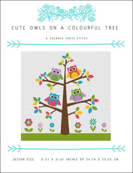 click here to view larger image of Cute Owls on a Colourful Tree (chart)
