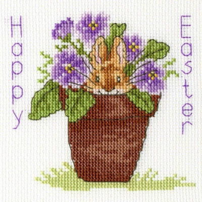 click here to view larger image of Easter Bunny - Card (counted cross stitch kit)
