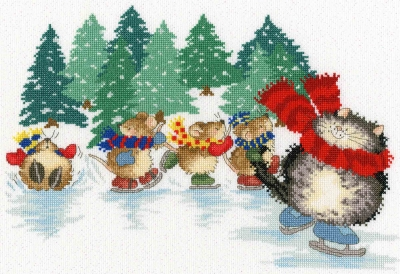 click here to view larger image of Mice Skating (counted cross stitch kit)