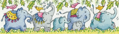click here to view larger image of Elephants on Parade (counted cross stitch kit)