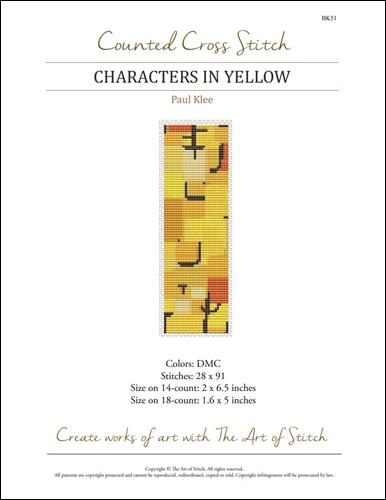 click here to view larger image of Characters in Yellow Bookmark (chart)