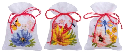 click here to view larger image of Flowers Bags (Set of 3) (counted cross stitch kit)
