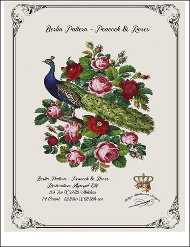 click here to view larger image of Berlin Pattern - Peacock and Roses (chart)