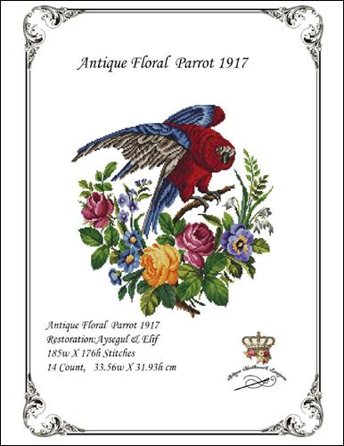 click here to view larger image of Antique Floral Parrot 1917 (chart)