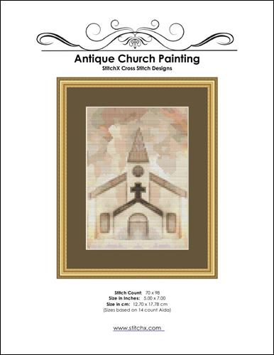 click here to view larger image of Antique Church Painting (chart)