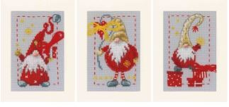 click here to view larger image of Christmas Gnomes Greeting Cards (set of 3) (counted cross stitch kit)