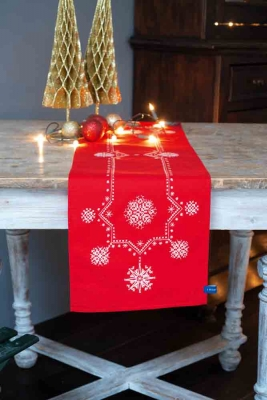 click here to view larger image of White Christmas Stars Table Runner (counted cross stitch kit)