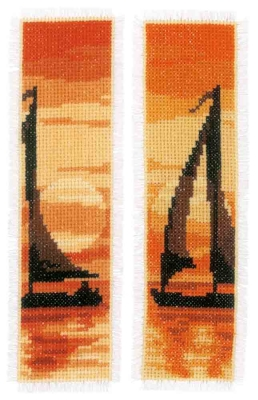 click here to view larger image of Sailing at Sunset Bookmarks (set of 2) (counted cross stitch kit)