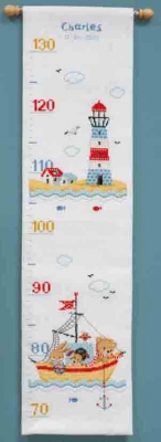 click here to view larger image of Boat Sailing - Growth Chart (counted cross stitch kit)