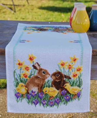 click here to view larger image of Rabbits with Chicks Table Runner (counted cross stitch kit)