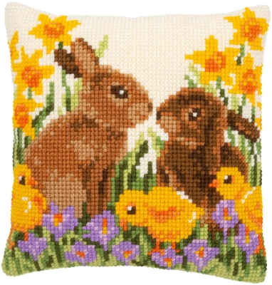 click here to view larger image of Rabbits With Chicks Cushion (needlepoint)