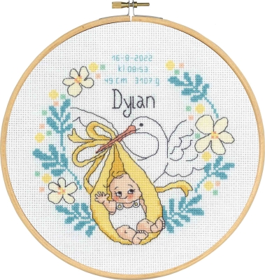 click here to view larger image of Dylan - Birth Announcement (counted cross stitch kit)