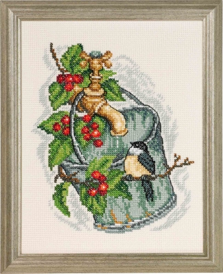 click here to view larger image of Bucket w/Chickadee and Holly (counted cross stitch kit)