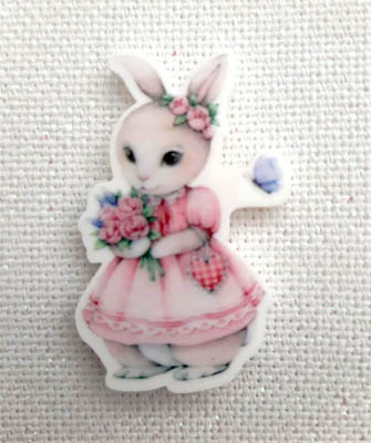 click here to view larger image of Spring Rabbit in Pink Dress Magnet (magnet)