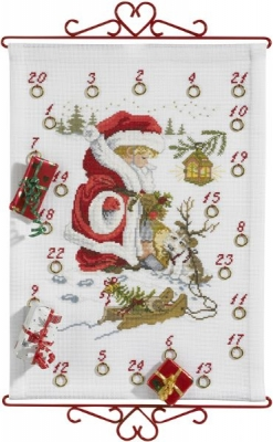click here to view larger image of Boy w/Dog Advent Calendar Bellpull (counted cross stitch kit)