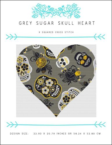 click here to view larger image of Grey Sugar Skull Heart (chart)
