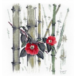 click here to view larger image of Camellias in Bamboo Grove (counted cross stitch kit)