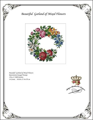 click here to view larger image of Beautiful Garland of Mixed Flowers (chart)