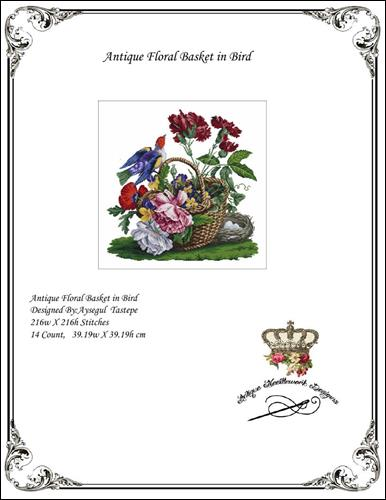 click here to view larger image of Antique Floral Basket in Bird (chart)